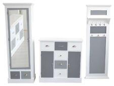 Garderoben Set 3-tlg. Garderobenschrank Kommode Paneele weiß/grau