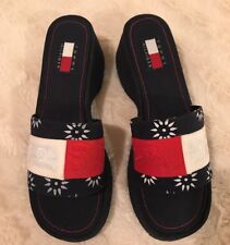 Tommy Hilfiger Sandals 9.5 Flag Chunky Platform Wedge Slip-on Slide Womens