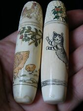 EXQUISITE PAIR OF ANTIQUE  DECORATED COMBINED THIMBLE/NEEDLE CASE ETUI
