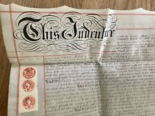 1882 Large English Mortgage Indenture on Vellum Two Pages