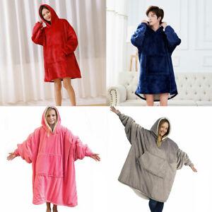 Mens Womens Home Plush Blanket Hoodie Comfy Sweatshirt Oversized Hoodie Fleece