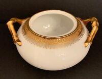 Vintage Sugar Bowl No Lid Jean Pouyat Gold Verge Intricate Trim China Teapot HTF