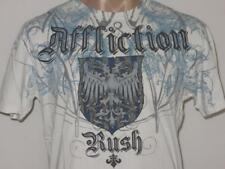 Affliction Medium RUSH Georges St. Pierre White Blue Shirt Biker MMA UFC Tattoo