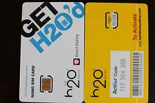 2 X H2O Wireless Oem Nano Sim card Iphone5 Unlimited Talk/Txt/2Gb Data At&T 4G