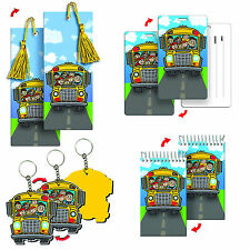 School Bus Bookmark Keychain Notebook Bag Tag 3D Lenticular #SET-270-1#