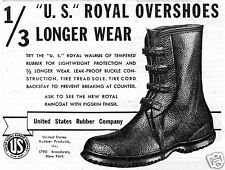 1937 United States Rubber Company Overshoes US Royal Walrus Boot Print Ad