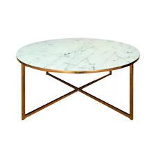 Hervorragend Couchtisch Alisma Beistelltisch Tisch Glas Wei Ÿ Marmoroptik Und Gold Chrom  80 Cm
