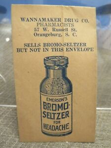 Vintage BROMO-SELTZER FOR HEADACHE SMALL PROMOTIONAL ENVELOPE