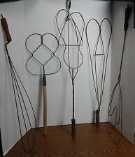 FIVE Antique Early 1900s Wire Rug Carpet Clothes Pillow Beaters Whips Fluffers