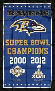 Baltimore Ravens NFL Super Bowl Championship Flag 3x5 ft Blue Banner Man-Cave