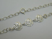 """Cable Anklet Select Size 9"""" to11"""" Solid Sterling Silver Dainty 3-Sand Dollar"""