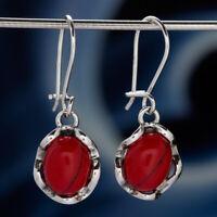 Koralle Silber 925 Ohrringe Damen Schmuck Sterlingsilber H545