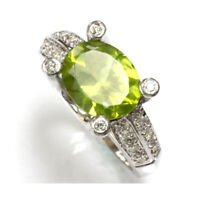 3.2 cttw Natural Green Peridot & Diamond 14k White Gold East West Cocktail Ring