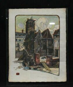 Paire de gravures Hippolyte Madelaine Ecole de Rouen signées. rues animées