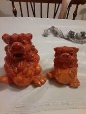 Pair Vintage Chinese Foo Dogs - Fu Lions - Burnt Orange