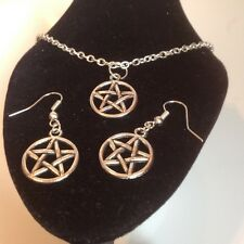 pentagram necklace and matching hook earrings silver plated