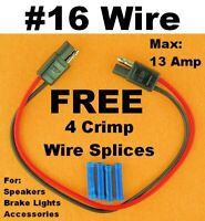 """16 Gauge 12"""" Inch Quick Connect Disconnect SAE Wire Harness 2 Pin Polarized 12V"""