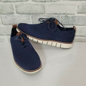 Cole Haan Mens 8 Navy 2.Zerogrand Oxford With Stitchlite Knitted Oxford Wingtip