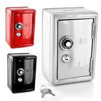 BANK METAL 2 KEYS WITH COMBINATION LOCK COINS CASH SECURITY PIGGY SAFE MONEY BOX