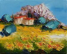 Tableau de Nolac 30x24  cm peinture arrière pays niçois et tournesols