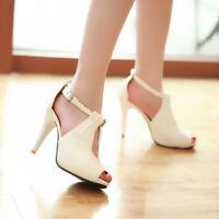 Womens Solid Peep Toe Stiletto High Heels Pumps Ankle Strap Party Shoes Size 8