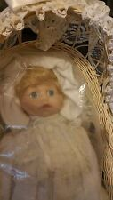Victoria Impex porcelain doll with Bear and Basket Baby's First Christmas 12""