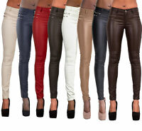Ladies Women Leather Look Leggings Wet Look Trousers Slim Fit Jeans Size 6-14