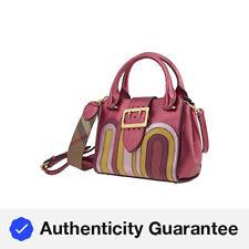 Burberry pequeño bolso de cuero y pitón Hebilla En Rosa Brillante 4048205