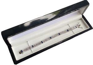 white gold finish Double Row Created Diamond and sapphire tennis bracelet