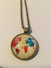 Vintage Pieces - Bronze Necklace Glass Cameo - Watercolour World Map