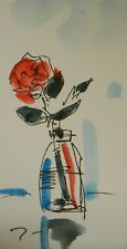 """JOSE TRUJILLO - ORIGINAL Watercolor Painting SIGNED Small 3x6"""" Red Rose Jar Art"""