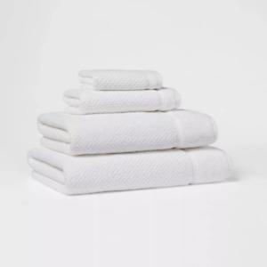 "Threshold Performance Cotton blend Bath Towels WHITE  30"" x 54""  soft on skin"