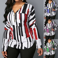 Women V Neck Printed Long Sleeve Casual T-Shirt Ladies Top Blouse Plus Size 4-18