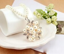 Beautiful Flower Pendent Full Pearl Long Sweater Necklace Jewelry