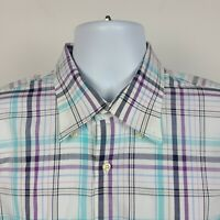 Peter Millar Blue Purple White Plaid Check Mens Dress Button Shirt Size Large L