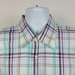Peter Millar Blue Purple White Plaid Check Mens Dress Button Shirt Size Large L