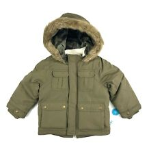 CARTERS Parka Jacket Toddlers Boys Size 3T Olive Green Heavyweight Faux Fur Trim
