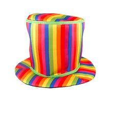 Adults Fancy Dress Rainbow Clown Tall Striped Hat Circus Accessory