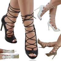 LADIES LACE UP STILETTO HEELS STRAPPY WOMENS CUT OUT ANKLE CALF SANDALS SHOES