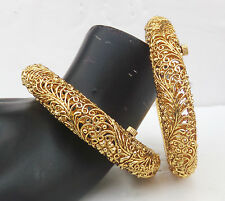 Asian Indian Fashion Jewelry Locakable Gold Plated Bangles Polki Ethnic Set