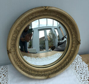 Vintage 1940's Atsonea Convex Regency Style Gold Mirror Ribbon & Reed, Leaves