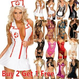 Women Sexy Lingerie Nurse Cosplay Costume Uniform Maid Outfit Babydoll Sleepwear