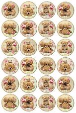 24 VINTAGE TEDDY BEAR PICNIC Wafer Rice Paper Cupcake Toppers EDIBLE CAKE COOKIE