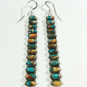 """925 STERLING SLENDER ELONGATED SPINY OYSTER & TURQUOISE 3"""" X 5/16"""" EARRINGS"""