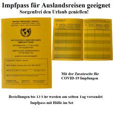 Impfpass International WHO Impfausweis Impfbuch mit Zusatzseite 1-50 Stück Hülle