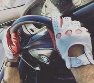 Red & White Italian Leather Driving Gloves Handmade for Men's
