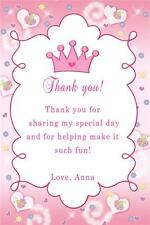 30 Custom Thank you Card Butterfly Princess Crown Baby Shower Birthday Party A1
