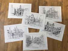 Historic Sussex Prints Drawings Set of Six by Gerald Lip Evening Argus Brighton.