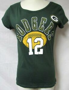 Green Bay Packers Aaron Rodgers #12 Women's Size Small Glitter T-Shirt A1 3109