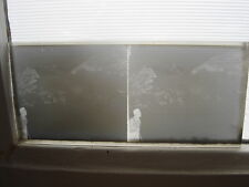 LOT Photo plaque verre NEGATIVES stereo 3D relief MONTAGNE PERSONNAGES SKI